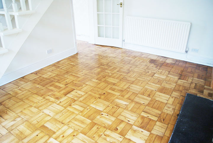 After parquet floor renovation-Basket-weave