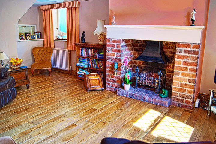 Distressed-oak-flooring-Fire-place