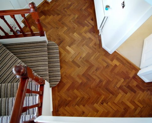 Merbau parquet floor-hall above
